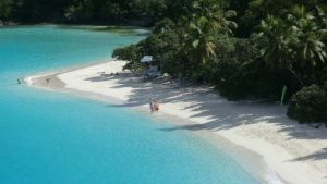 Changing your mind | A tropical beach, white sand, blue sea, green trees